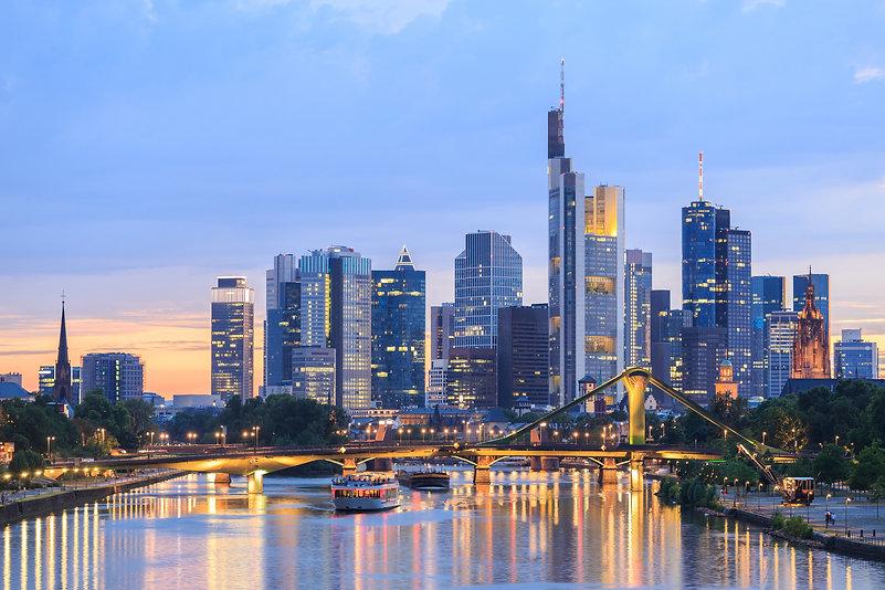 View of Frankfurt am Main skyline at dus