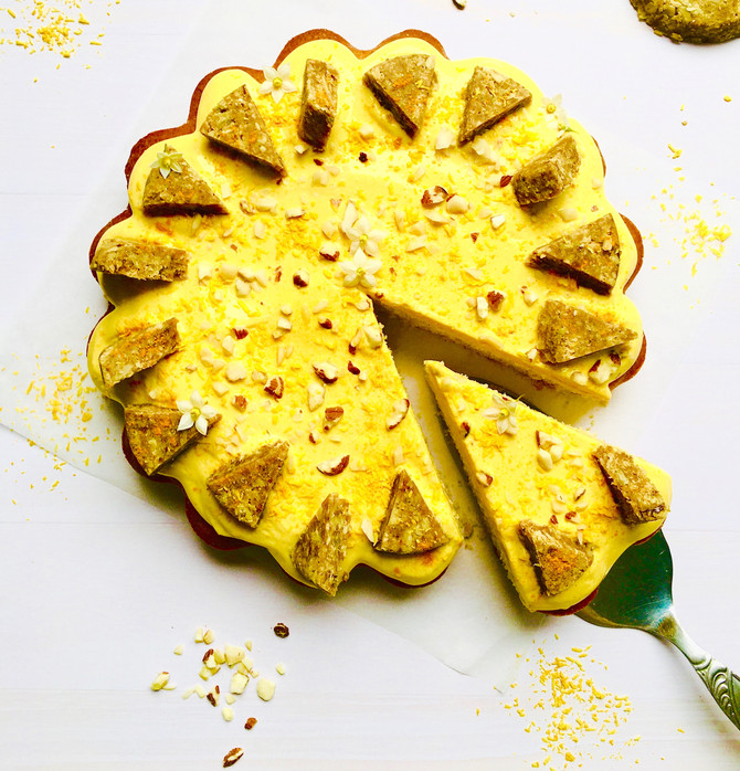 Coconut Cake with Golden Banoffee Yogurt Frosting