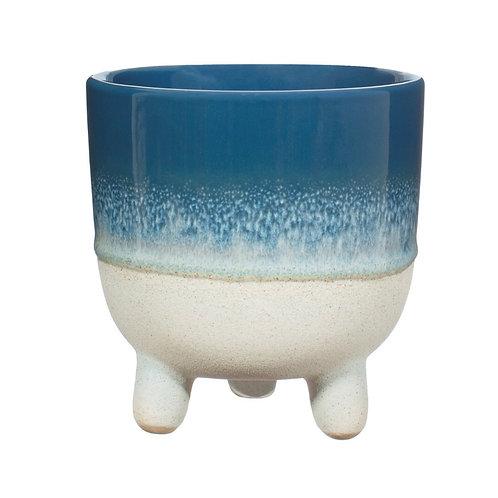 Mojave glaze flower pot Blue