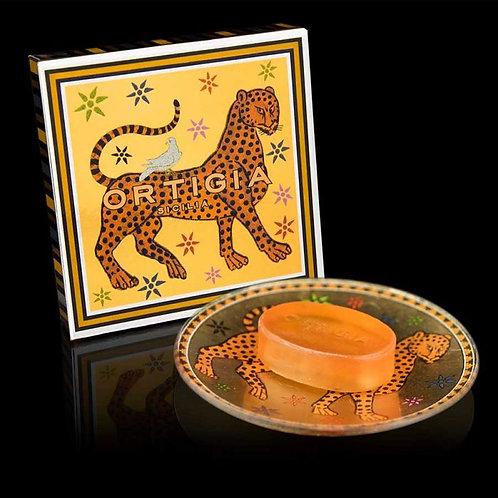 Ortigia Glass Plate and Soap 40g - Ambra Gattopardo