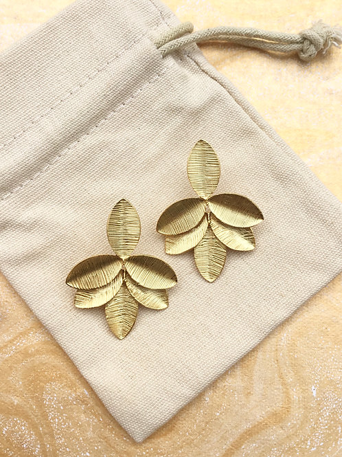 Brushed Gold Leaf Cluster Earrings