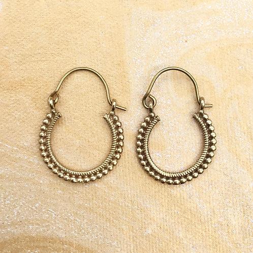 Gold Bobble Hoop Earrings