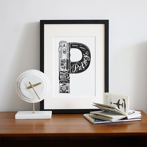 P is for Putney Framed Print