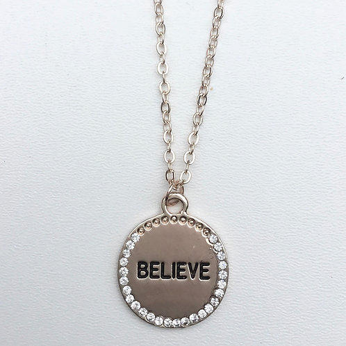 Believe Necklace - Rose Gold