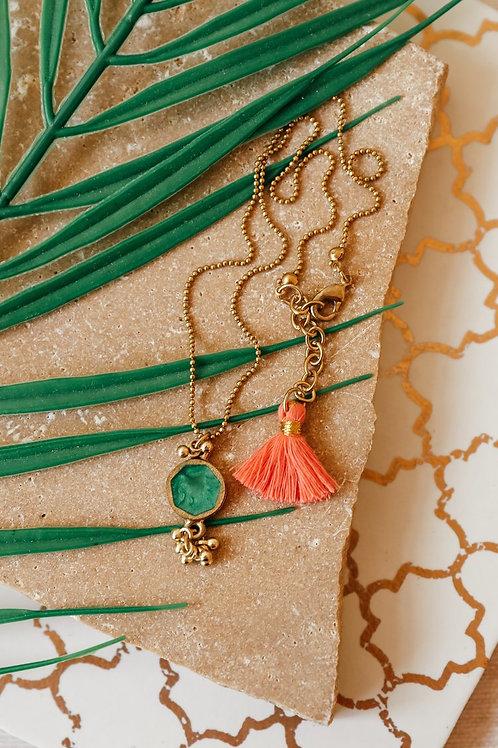 Apple Green Enamel Necklace