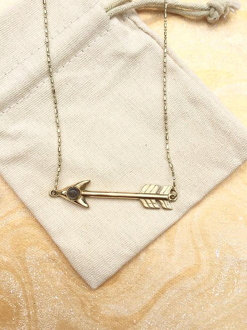 Gold Labradorite Arrow Necklace
