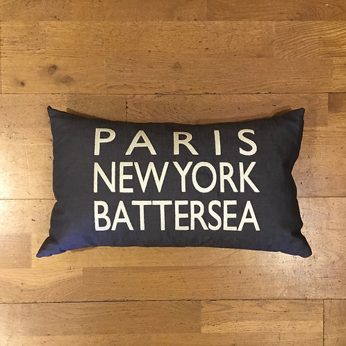 PARIS NEWYORK BATTERSEA Embroidered Cushion - Charcoal