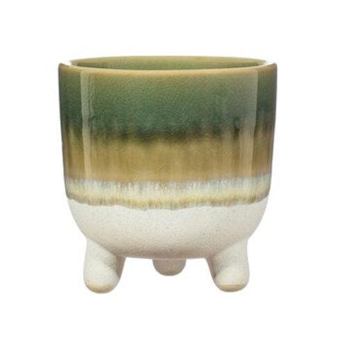 Mojave glaze flower pot Green