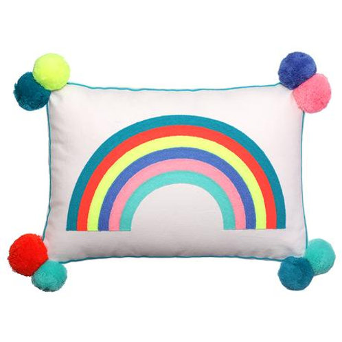 Over the Rainbow Cushion with PomPoms