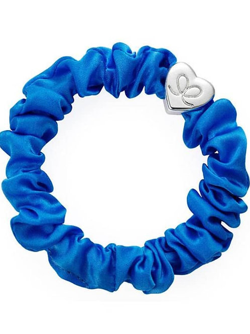 Silver Heart Royal Blue Silk Scrunchie Bangle Band