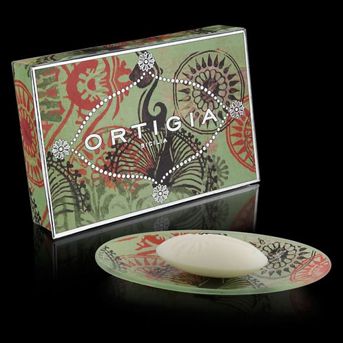 Ortigia Glass Plate and Soap 40g - Fico d'India