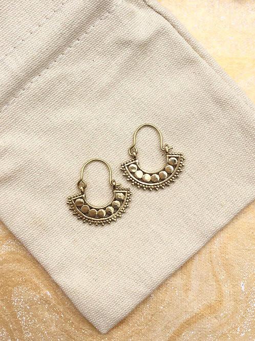 Gold Fan Hoop Earrings