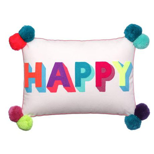 Happy Cushion with PomPoms