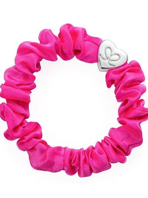 Silver Heart Neon Pink Silk Scrunchie Bangle Band