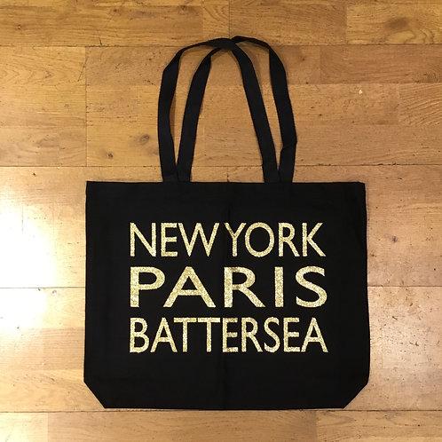 NEW YORK PARIS BATTERSEA Canvas Tote Bag - Black/Gold