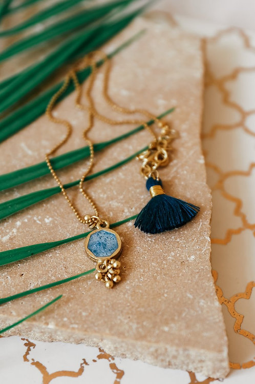 Denim Blue Enamel Necklace