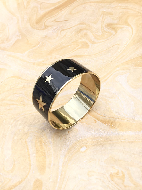 Black Enamel Multi Star Bangle