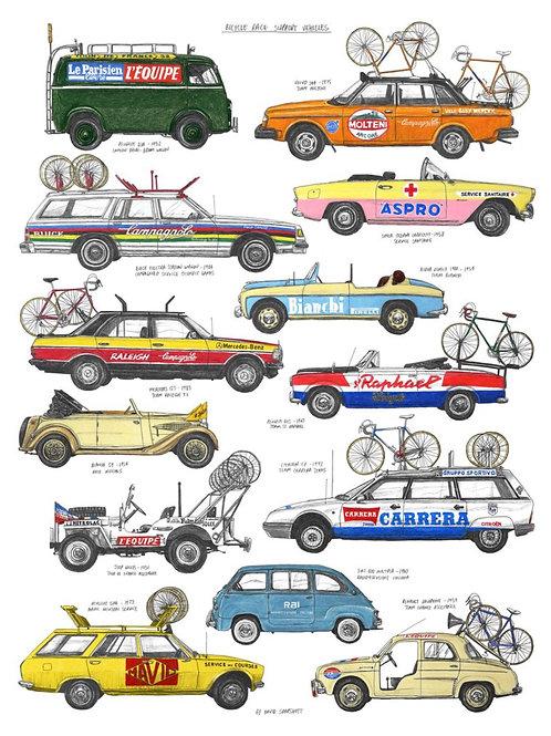 Bike Race Support Vehicles Print