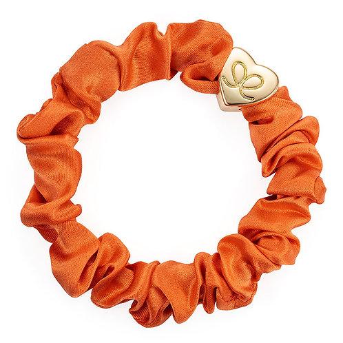Gold Heart Orange Peel Silk Scrunchie Bangle Band
