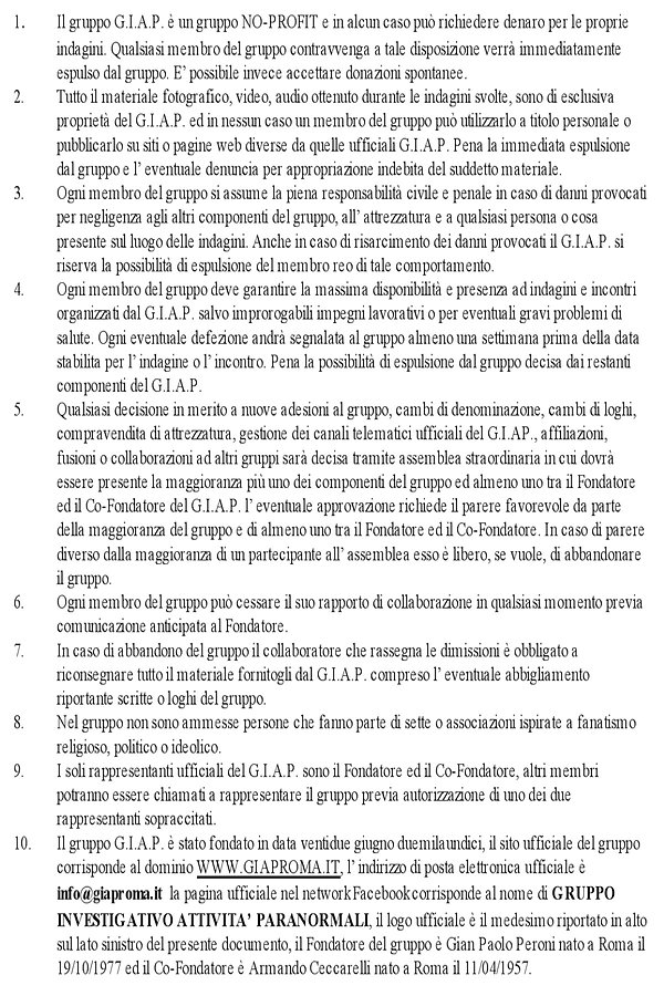 statuto del GIAP Roma