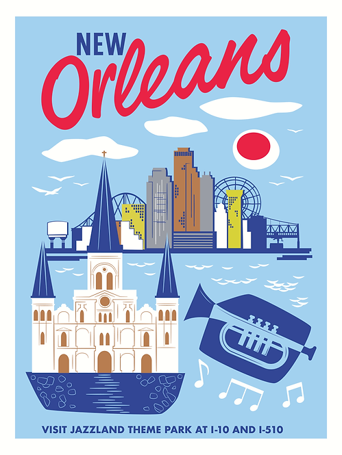 Jazzland Vintage Travel Poster