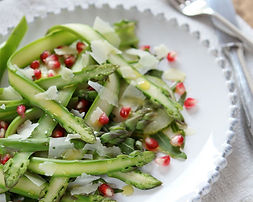 Crazy Good Asparagus, Pomegranate, and Pinenut Side Dish
