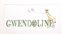 Gwendoline Giraffe with Balloons