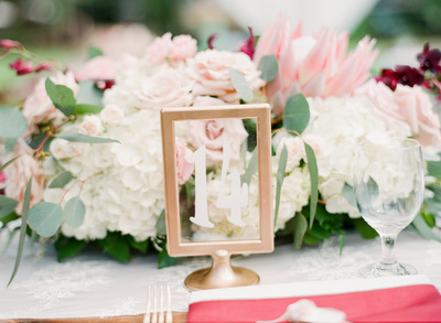 Gold Frames with White Numbers (table numbers)