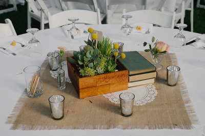 Burlap Table Squares (and silver mercury votives)