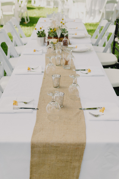 Burlap Table Runners (and silver mercury votives)