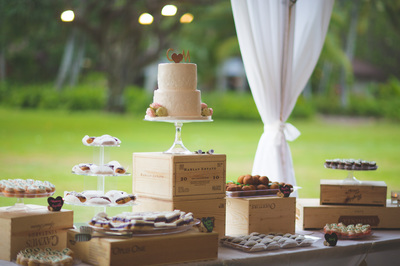 Wooden Crates and Cake Stand