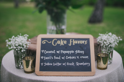 Chalkboard Signs & Gold Mercury Votives