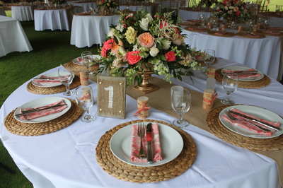 Rattan Charges (also burlap table runners)