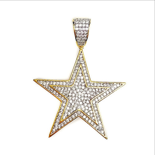 DOUBLE FRAMED FIVE POINT STAR PENDANT GOLD