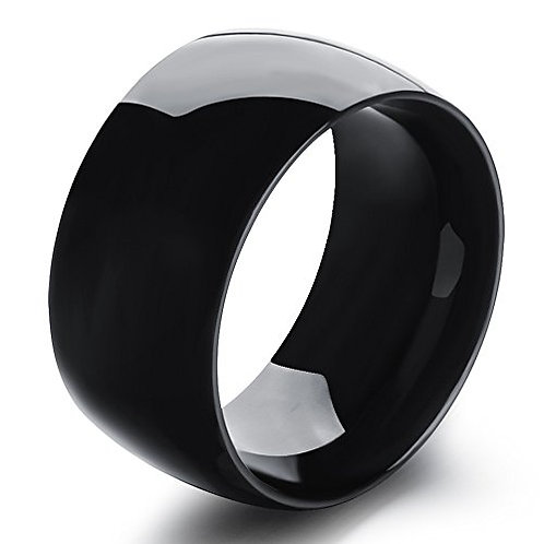 WIDE DOME BAND RING BLACK IP