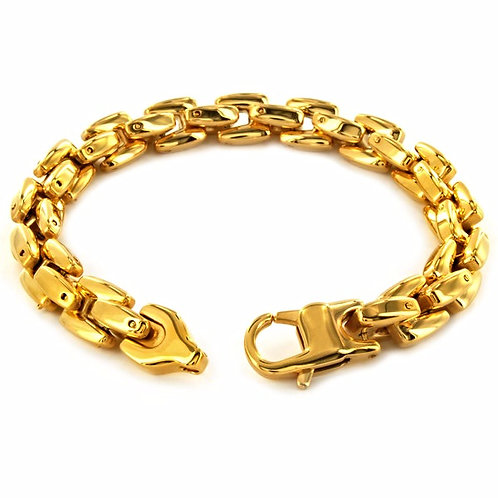 SCALE CABLE LINKED BRACELET GOLD IP