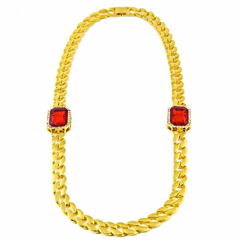 DOUBLE SIMULATED RUBY MEDALLIONS CUBAN LINK CHAIN