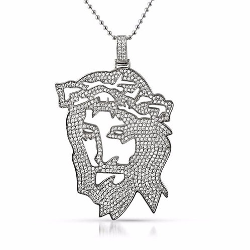 JESUS OUTLINE ICED OUT PENDANT PLATINUM