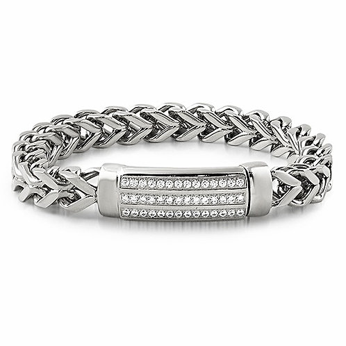 ID CZ HIGH POLISHSED FRANCO BRACELET PLATINUM