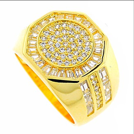 ROUND SIGNET BAGUETTE CUT CZ MICRO PAVE RING GOLD
