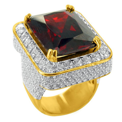SIMULATED RUBY SOLITARE MICRO PAVED RING