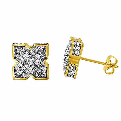 X SHAPE ICED OUT EARRINGS GOLD