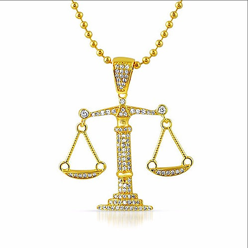 BALANCE SCALE CZ PENDANT WITH CHAIN GOLD