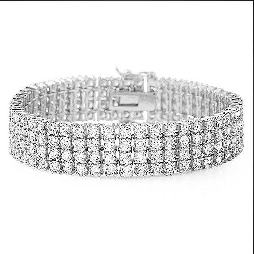 4 ROW SIMULATED DIAMOND BRACELET PLATINUM
