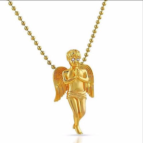 MICRO PRAYING ANGEL WITH CZ EYES GOLD