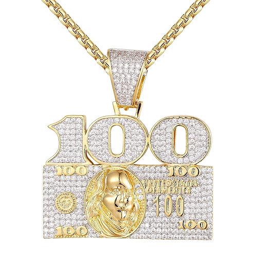 100 DOLLAR BILL CASH CUSTOM PENDANT GOLD