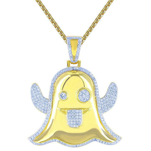 GHOST EMOJI PENDANT & NECKLACE SET GOLD
