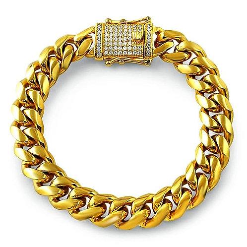 PREMIUM MICRO PAVED CLASP HIGH POLISHED MIAMI CUBAN BRACELET 10MM IP GOLD