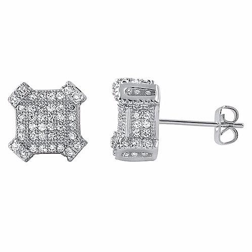 2.10 CTW LAB SIMULATED DIAMOND CUBE EARRINGS PLATINUM