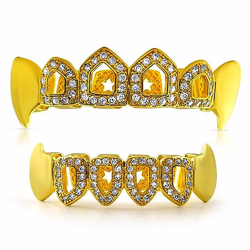 MICRO PAVED ICE OPEN TOOTH FANG TOP & BOTTOM GRILLZ SET